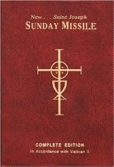sunday missal with words 'sunday missile' on the top