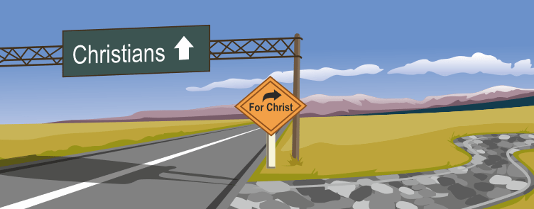 a road with a sign reading 'christians' and a turn off to the right reading 'for christ'